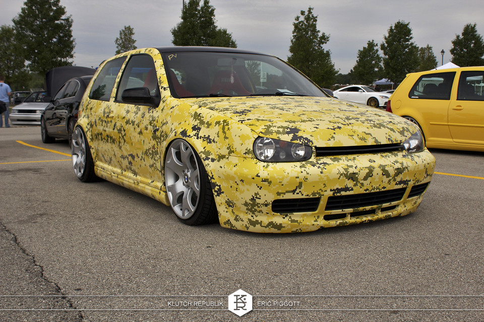 yellow digi camo mk4 vw golf gti r32 bmw x5 wheels at midwest treffen 2012 3pc wheels static airride low slammed coilovers stance stanced hellaflush poke tuck negative postive camber fitment fitted tire stretch laid out hard parked seen on klutch republik