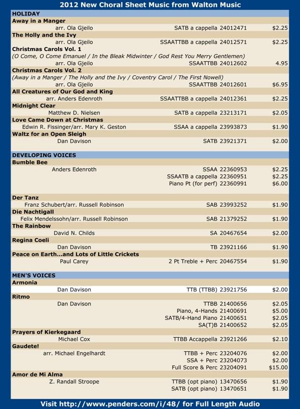 Walton 2012 Choral Sheet Music Promo Pg 1