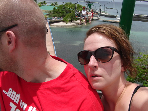 on a chairlift over the ocean in Honduras. NO BIG DEAL.