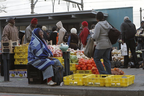 Commuters at the Wynberg Taxi rank in Cape Town on their way home.