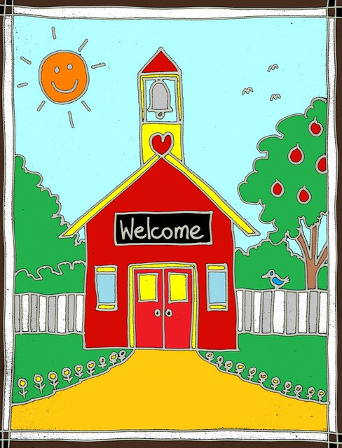 Teacher Clip art: Red schoolhouse by Stushie | Stushie Art