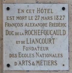 Photo of François Alexandre Frédéric de La Rochefoucauld marble plaque