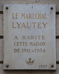 Photo of Hubert Lyautey white plaque