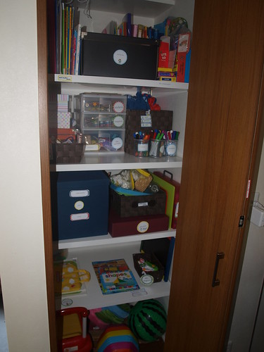 Downstairs cupboard all organized!
