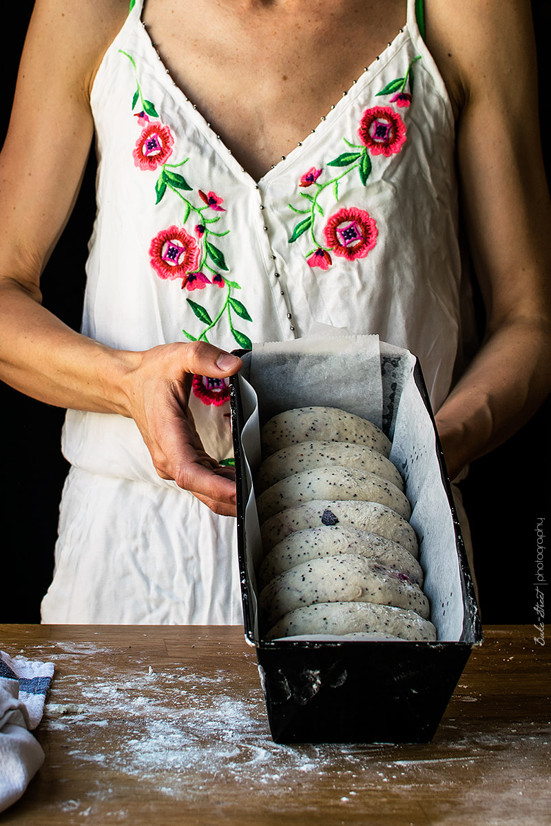 Pan de molde de yogurt, amapola y arándanos-5