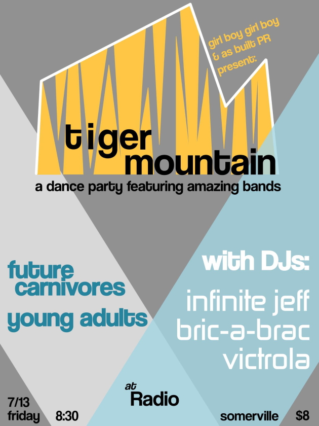 Tiger Mountain dance party with Future Carnivores and Young Adults, and DJs Infinite Jeff, Bric-A-Brac and Victrola
