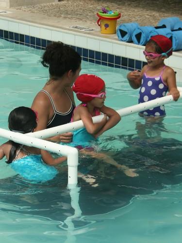 Jaya, gleeful in swim class