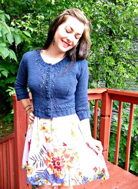 Crop knit and circle skirt combo