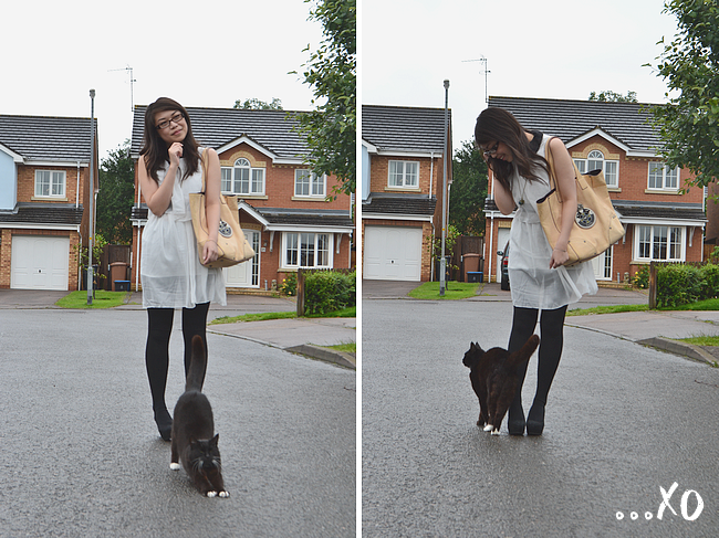 daisybutter - UK Style and Fashion Blog: what i wore, ootd, wiwt, SS12, peter pan collar, ever ours clothing, vintage inspired, flatforms, luella regal plaque tote bag