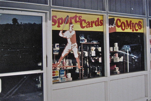 Baseball card shop window