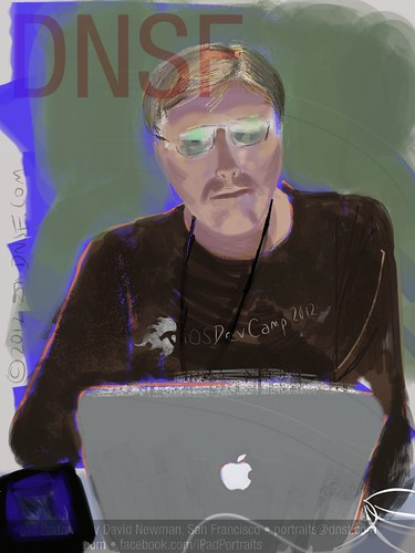iPad Portrait of Paul Ossenbruggen Painted from Life Today at iOSDevCamp at PayPal HQ by DNSF David Newman