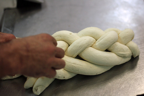 braiding challah bread
