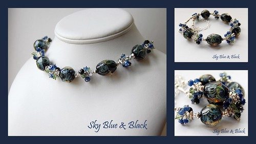 Sky Blue & Black - SOLD by gemwaithnia
