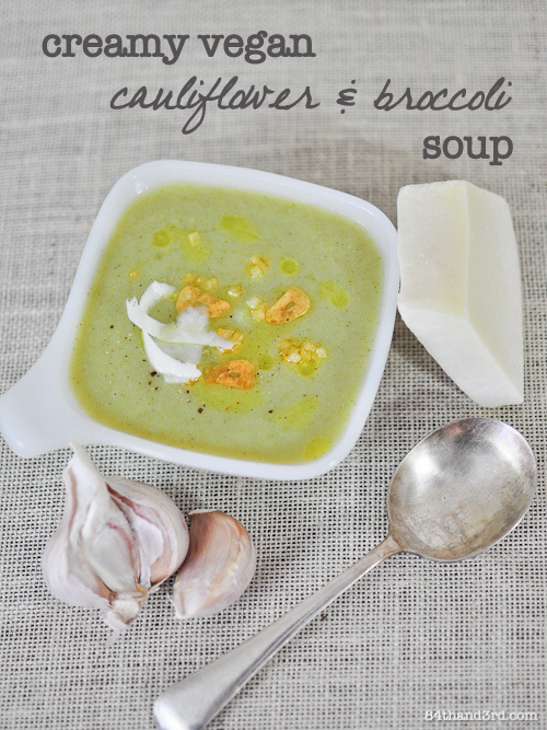 Cauliflower & Broccoli Soup with Garlic Chips