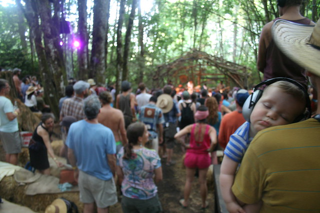a baby sleeping with giant headphones on at Portland's Pickathon music fest