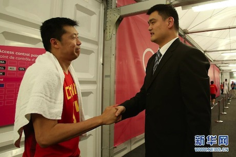 August 6th, 2012 - Yao Ming consoles Chinese basketball player Wang ZhiZhi after the Chinese 5th and final loss of the Olympic games in London