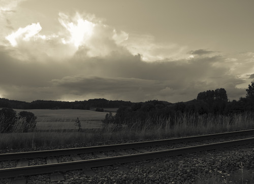 railroad sky blackandwhite bw sunlight white black field rain clouds landscape view railway swedish
