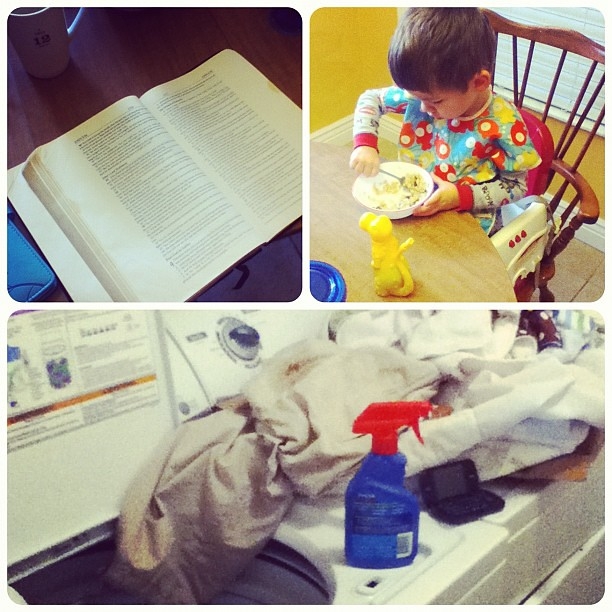 8 o'clock. Some #hellomornings, a little boy and his oatmeal, and the laundry pile. #photoadayaug