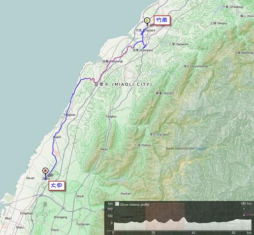 2011/10/10 單車環島 Day2 路線圖