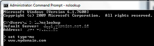 command prompt nslookup exe set type mx domain