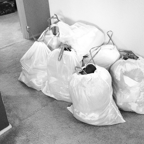 Closets, purged. EIGHT BAGS. Hopefully no more arguments with the kids about clothes being too small for school.