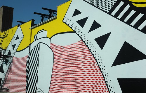 Urban art, Roy Lichtenstein, industrial painting, pop art, bridge, comic book style, ad on building, freeway, Chicago, Illinois, USA by Wonderlane