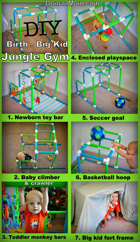 Jungle gym monkey bars for toddler is pvc safe to use for Diy jungle gym ideas