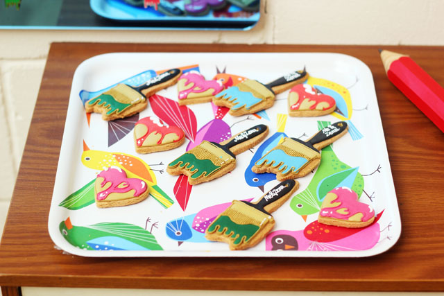 Me and Zena Saatchi Gallery paintbrush biscuits by Biscuiteers