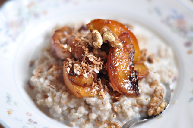 buckwheat & barley porridge with roasted fruit and ntus