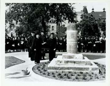 Baylor University Centennial Monument, 1945, located on Founders Mall