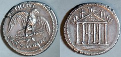 RRC 487/2a PETILLIVS CAPITOLINVS Petillia Denarius. Eagle on thunderbolt, angled reverse, Capitoline Temple, pediment + hanging decorations. Rome 41BC (Woytek)