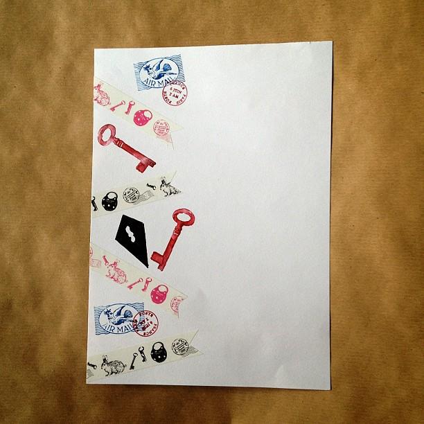 #washitape #letter #key #keyhole #rabbit #padlock #postmark