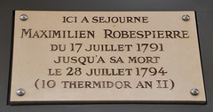 Photo of Maximilien de Robespierre white plaque