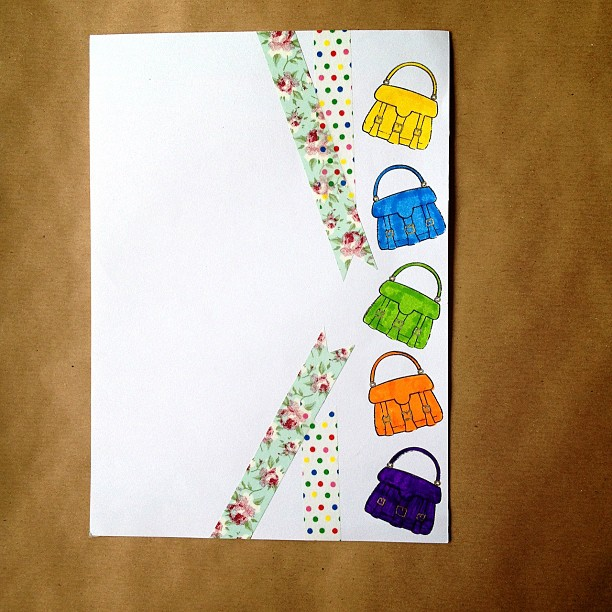 #washitape #tape #handbag #rubberstamps #letter #paper #snailmail