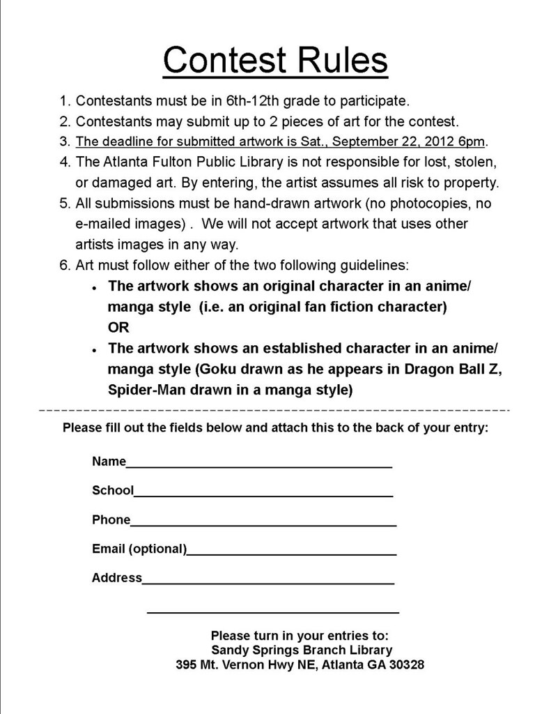 Contest Rules - Free Printable Documents