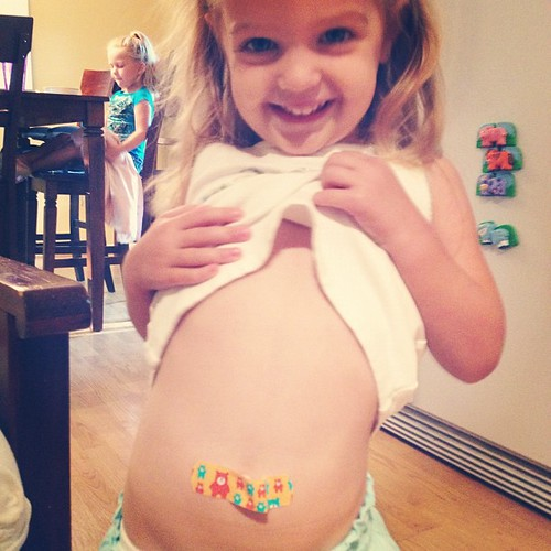 "Boo wanted a band-aid on her belly button (cause her tummy hurt, of course). Sadie Piper was horrified and said, ""Don't put it there!!!! She won't be able to breathe!!!"""