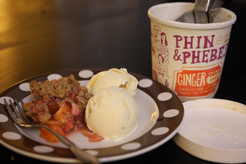 Stone Fruit Crisp with Phin & Phebes Ginger Snap Ice Cream