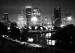 Sabine St Bridge over Buffalo Bayou & Downtown Houston, Texas 1208252055BW