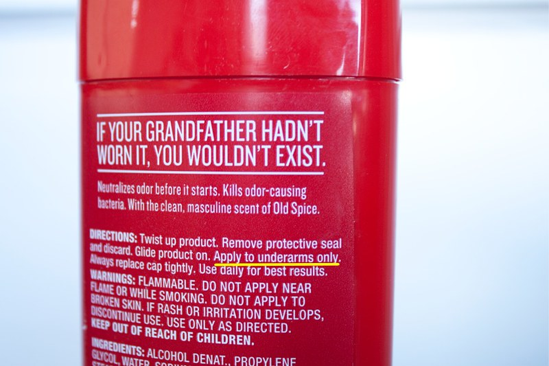 Old Spice - back label