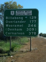 Binnu road sign, Carnarvon here we come
