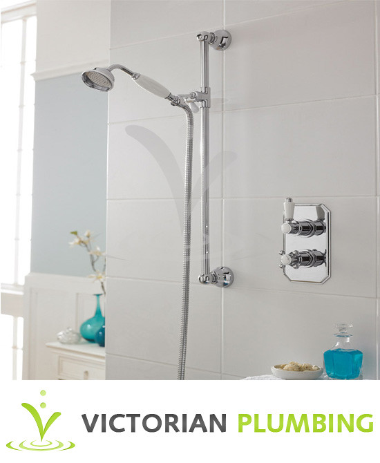 Edwardian Twin Concealed Thermostatic Shower Valve w/ Slider Rail Kit