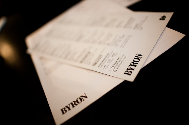 Menu at Byron Burger Covent Garden