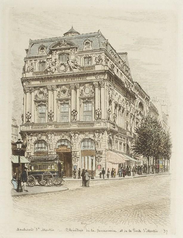 Boulevard Saint-Martin - Théâtres de la Renaissance et de la Porte Saint Martin 1877