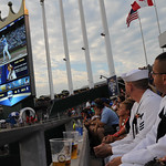 Sailors watch the 2012 Major League Baseball Home Run Derby.