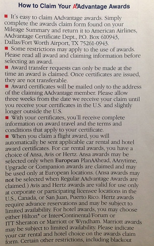 1990 American Airlines AAdvantage Guide - Claiming Awards