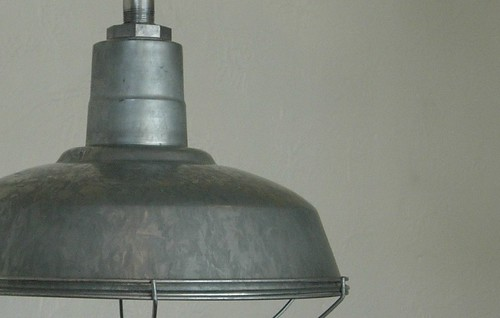 Set Of Three Galvanized Barn Lights With Cage Guards