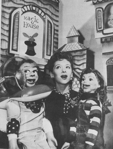 Ventriloquist Shari Lewis with pals Randy Rocket and Taffy Twinkle 1955