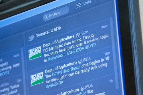 Agriculture Deputy Secretary Kathleen Merrigan, hosts a live Twitter chat focused on the Department's support of local and regional food systems and the recent release of the 2.0 version of the Know Your Farmer, Know Your Food Compass on Tuesday, July 4, 2012, in Washington, D.C.