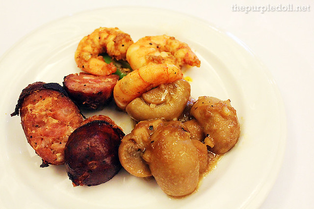 Sliced Vigan Longganisa, Gambas Al Ajillo and Mushroom Vinaigrette