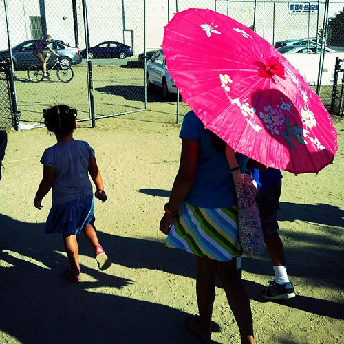 Pink parasol.